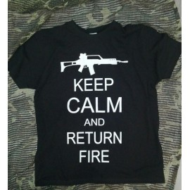 CAMISETA KEEP  CALM  AND RETURN THE FIRE