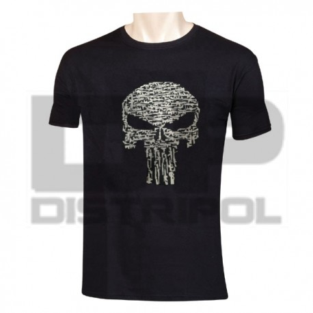 CAMISETA PUNISHER FUSILES NEGRA/BLANCA