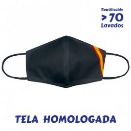 MASCARILLA NEGRA BANDERA DE ESPAÑA HOMOLOGADA